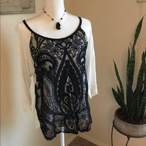 3/4 sleeve lace front blouse